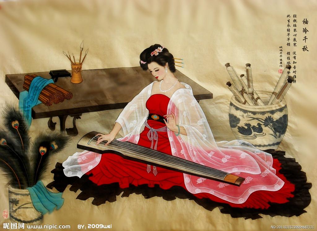 弹古琴手绘美女